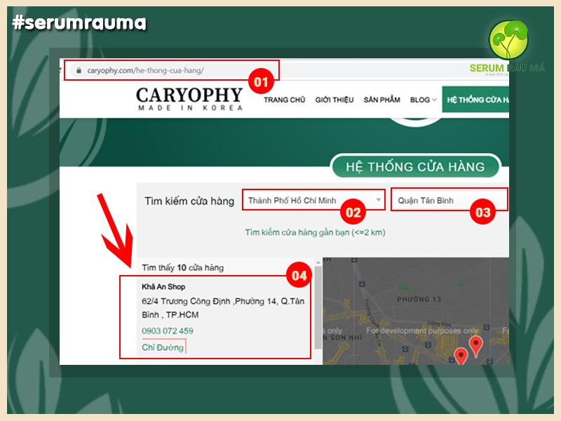 Mua serum Caryophy Chính Hãng Online tại Website serumrauma.com